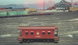 Baltimore and Ohio | Staten Island, New York | I-1 class wooden caboose #C-343 | B&O Pier 6 | Car Float | April 1955 | St. George Yard